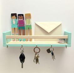DIY key & letter holder using BEKVAM spice rack from IKEA, Robin\'s Egg paint from Target and 5 nails/hooks (also from target). #keyholder #letterholder #ikeaspicerack #DIY