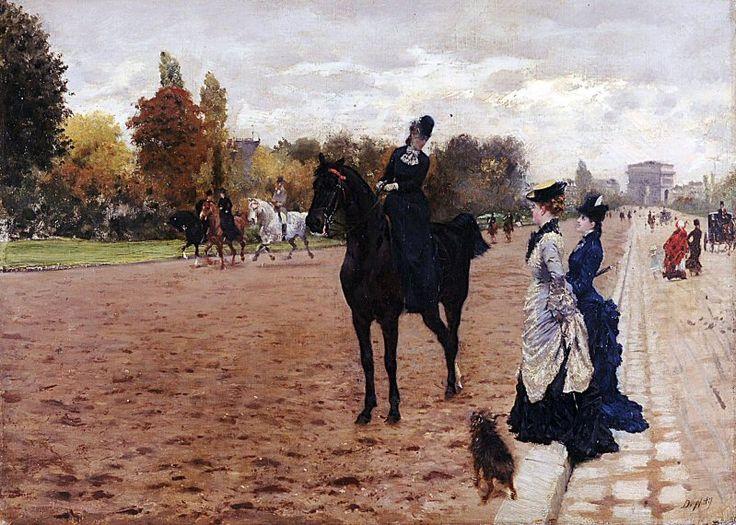 L'avenue du Bois de Boulogne (vers 1875) peint par Giuseppe de Nittis (1846-1884) (Paris 16ème)