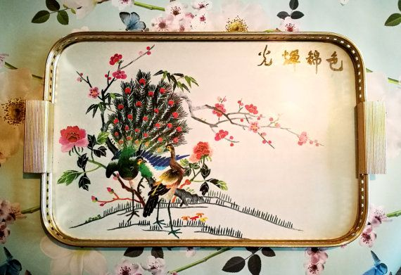 Melamine large gallery serving tray, Grosvenor by Payne and Holloway. Chinese cherry blossom and peacocks. Mid century, Vintage kitchen
