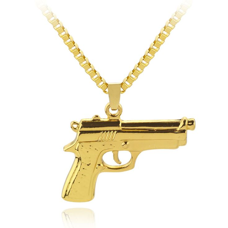 Big Gold Chain Pistol Pendant Unisex Gold Plated Submachine Gun Pendant Chain Maxi Necklace For Men/Women Hip Hop Jewelry Gifts