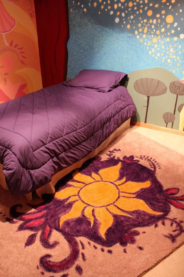 animals tangled room lanterns Rapunzel princess purple bright kids room decorated