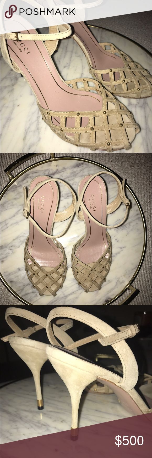 Gucci suede neutral pumps Gucci suede neutral pumps. Front of shoe has a caged detail with studded toe tips. Worn a handful of times just like every Gucci shoe any woman owns 😉. Gucci Shoes Heels