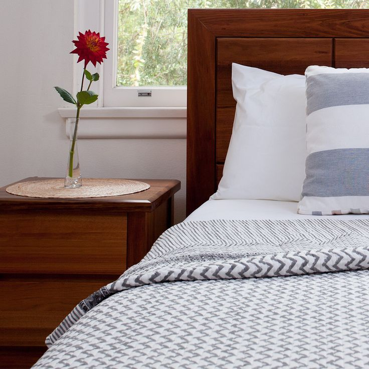 Hand Block Print Quilt / Bedspread -Chevron Design | The Hues of India