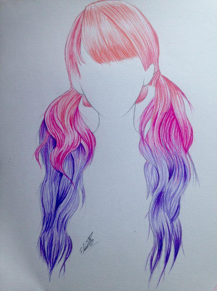 Pink purple ombré hair drawing