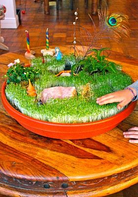 10 activities for kids--Love this one for little ones to grow grass indoors and then make a fairy garden with it.