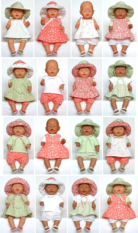 Summer Fun doll clothes sewing patterns are suitable for 43cm tall baby dolls. $5.95