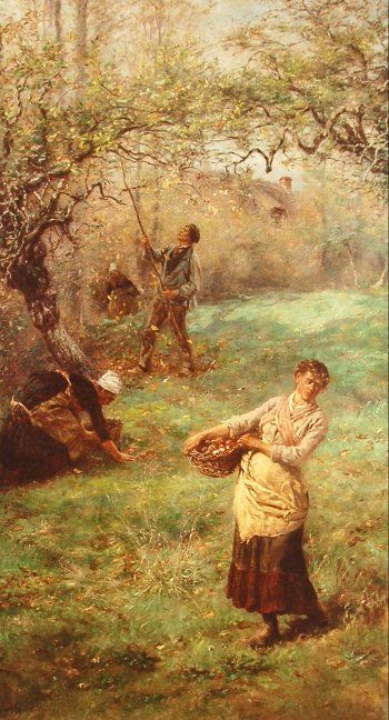Gathering Apples, Normandy by William John Hennessy