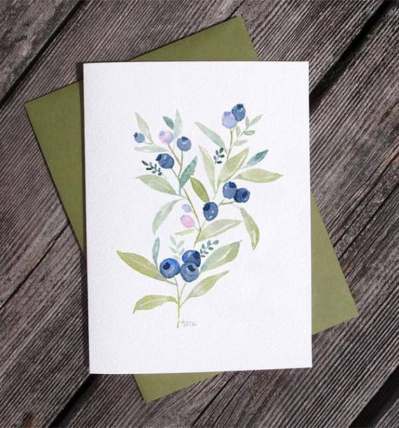 Maine Blueberry Watercolor Greeting Card Printed Any Occasion