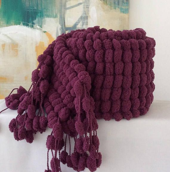 Plum Chunky Winter Scarf Warm Scarf. Supersoft Birthday Gift