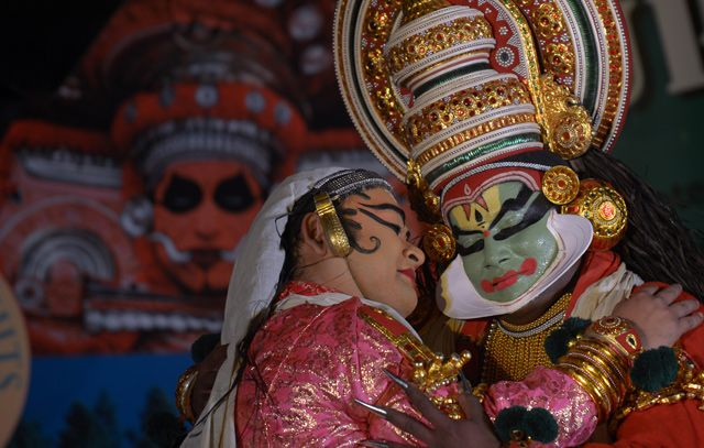 Photo of the Day: A Traditional Dance in India | Traditional dancers from the southern Indian state of Kerala perform in Kolkata, #India on March 6, 2013. (Dibyangshu Sarkar/AFP/Getty Images)
