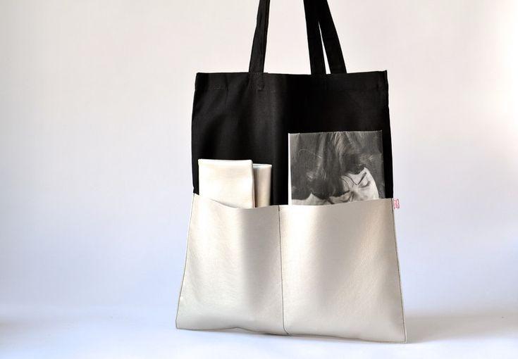Stoffbeutel - Shopper Kunstleder schwarz perlmutt - ein Designerstück von majamien bei DaWanda