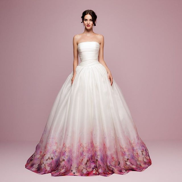 Who would wear a pink floral printed silk organza ballgown for a wedding? LOVE!!! #daalarnacouture