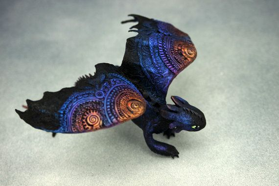 Toothless Night Fury Dragon Sculpture httyd by DemiurgusDreams