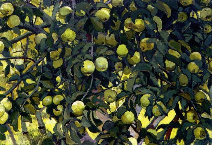Художник - Зинаида Евгеньевна Серебрякова, картина «Зеленые яблоки на ветках»: Масло, Холст