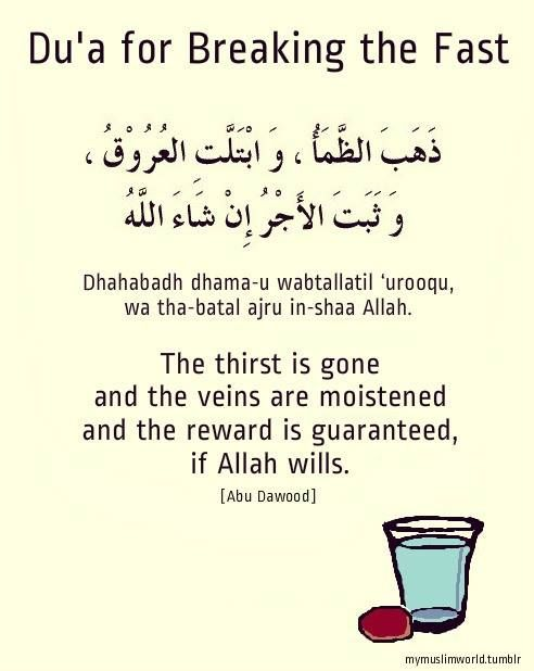 Du'a for breaking the Fast