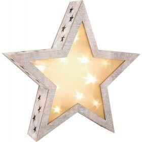 Táto hviezdička s 3D efektom prinesie ku vám domov vianočnú atmosféru. V drevenom vintage rámiku sú vyrezané drobné hviezdičky. Zabudované hviezdy vo svietniku jemne presvecujú matnú fóliu. Ošumelý vzhľad je trendy.