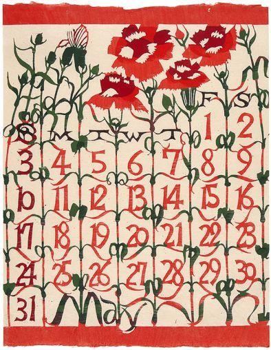 """¤ SERIZAWA, Keisuke (1895-1984). May. 1964. Benihana """"Red Flower."""" katozome japanese calendar"""