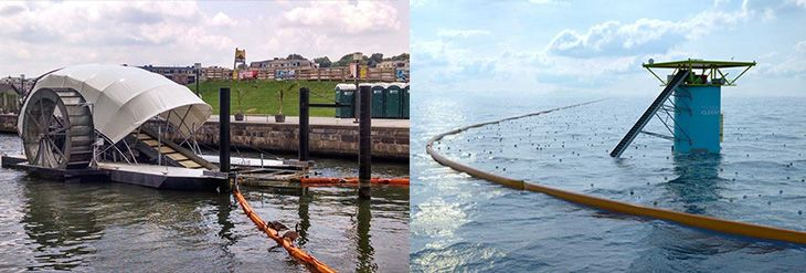 The water-powered Mr. Trash Wheel (left) pulls garbage from Baltimore's Inner Harbor. Boyan Slat's solar-powered design (rendering, right) uses ocean currents to gather plastics for recycling.