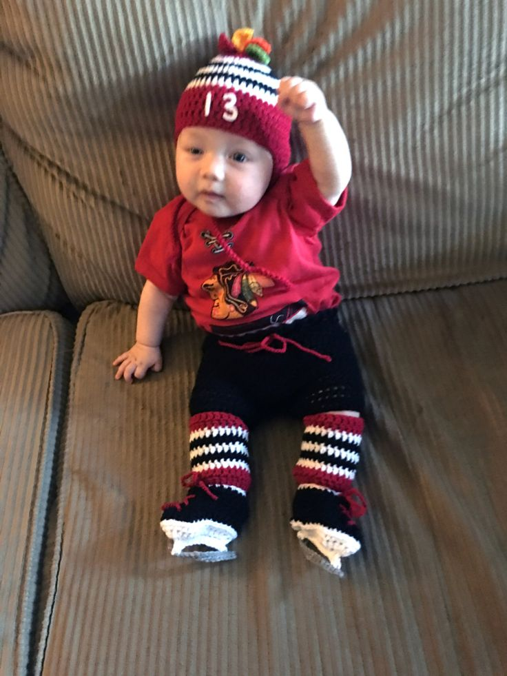 Grandmabilt BABY HOCKEY OUTFIT, Chicago Blackhawks Paci Not Included, Hockey Baby Pants Socks Skates, Red Black Hockey, Baby Hockey Skates by Grandmabilt on Etsy
