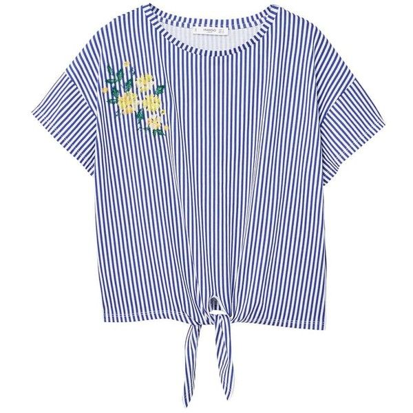 Embroidery Striped T-Shirt (430 MXN) ❤ liked on Polyvore featuring tops, t-shirts, embellished crop top, short sleeve tee, blue striped t shirt, striped tee and cotton tees