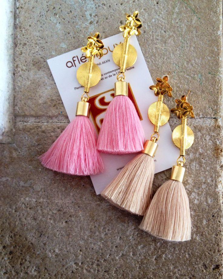 Ethno Chic Earrings Rosa, Sand www.aflebijoux.com