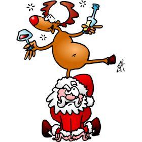 Reindeer is having a drink on Santa Claus fc T-Shirt design. #Tshirts #illustration #design #drawing #customprint #POD #CardvibesCatalog #Cardvibes #Tekenaartje #Zazzle #Spreadshirt #Redbubble #Society6