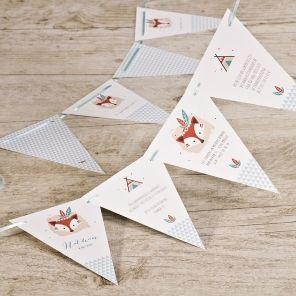 Vlaggenlijn als geboortekaart | Tadaaz #birthcard #geboortekaart #vlaggetjes #lint #vos