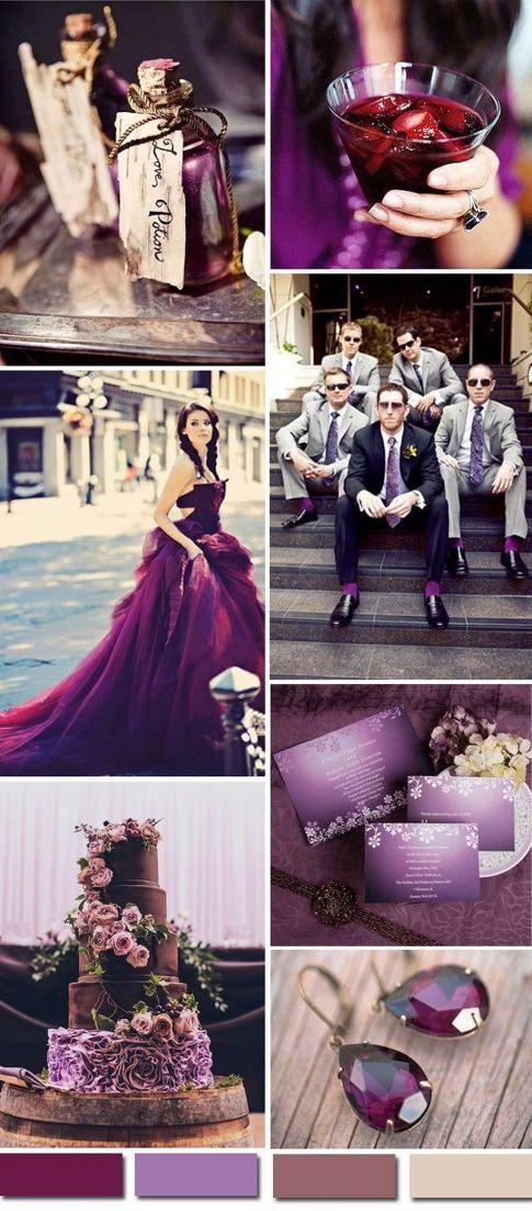 Plum purple and grey elegant wedding color ideas 63