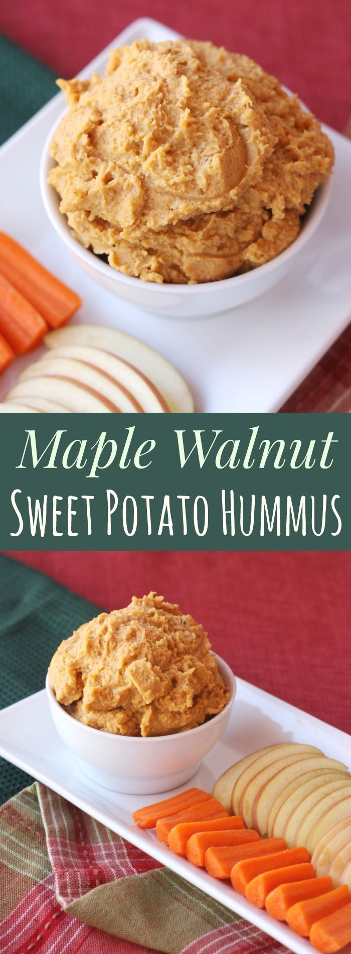 Maple Walnut Sweet Potato Hummus - your favorite dip with a sweet twist. A gluten free, vegan snack or lunch