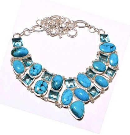 925 Sterling Silver Blue Sleeping Beauty Stabilised Turquoise Genuine Gemstones and Swiss Blue Topaz Bib Statement Necklace!! by Ameogem on Etsy