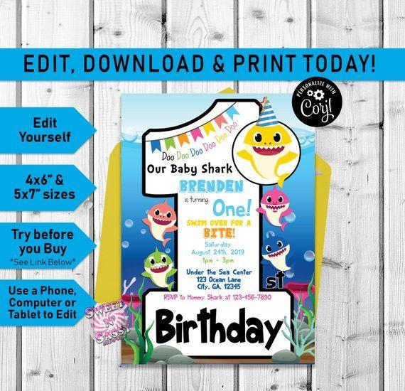 baby shark editable first birthday