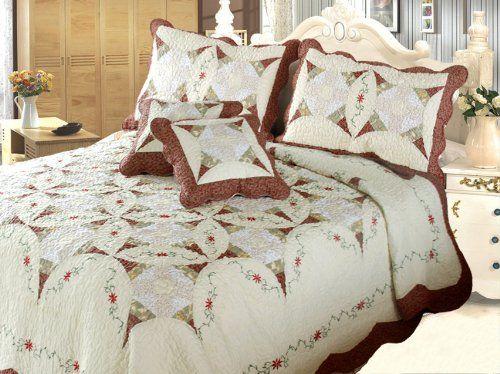 DaDa Bedding DXJ101567-2 Classic Cotton 5-Piece Quilt Set, Queen, Patchwork, Ivory