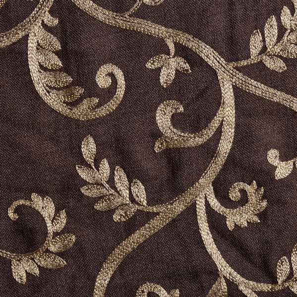 Macire Curtains In Chocolate Linen With Gold Scroll Vine
