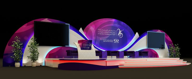 Backdrop design of Qatar Jet Fuel Company 25 Th anniversary event For Wahj Design