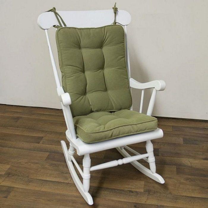 Standard White Rocking Chair With Green Cushion. Segelflugzeug SchaukelstuhlOutdoor  ...
