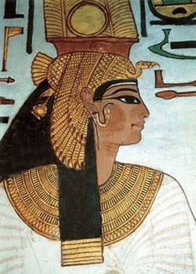 Ancient Egyptian wall painting ~ Portrait of Nefertari