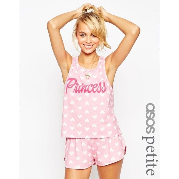 ASOS PETITE Princess Heart Cutout Tank & Short Pajama Set ($35) ❤ liked on Polyvore featuring intimates, sleepwear, pajamas, multi, petite, petite pajamas, short pajama set, short sleepwear, short pajamas and petite sleepwear