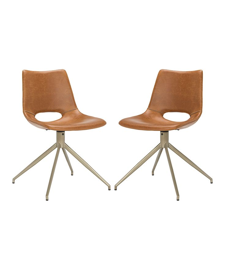Light Brown Danube Leather Swivel Chair - Set of Two
