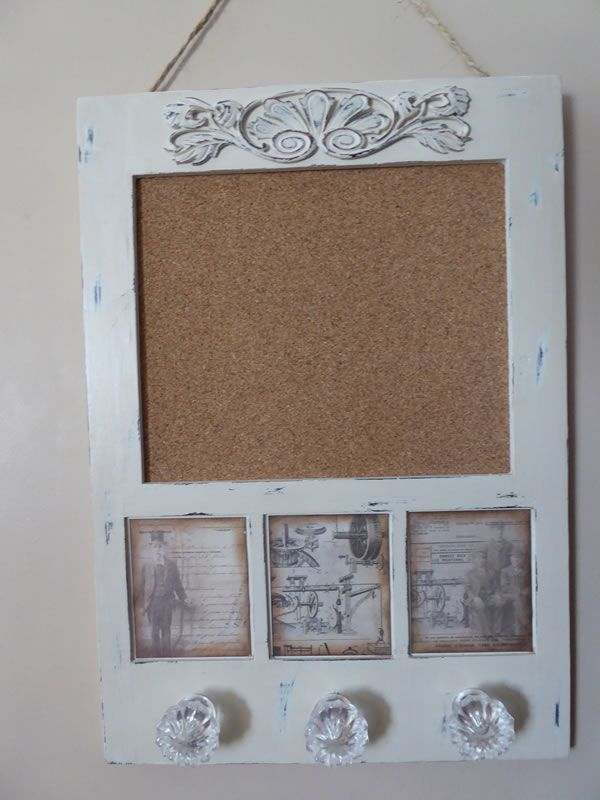 Bulletin cork board with glass handles to hang items from. www.brushandbolt.com