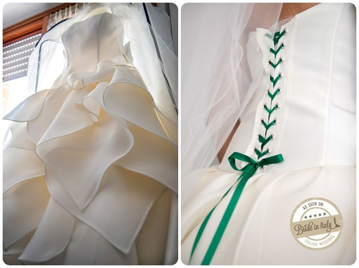 I love the emerald green ribbon on this bridal dress by Atelier Aimée -  ph Stefano P. Tonucci #italianstyle http://www.brideinitaly.com/2013/10/tonuccipelagallina.html #wedding