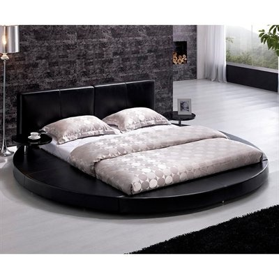 TOSH Furniture  Round Bed with Leather Headboard