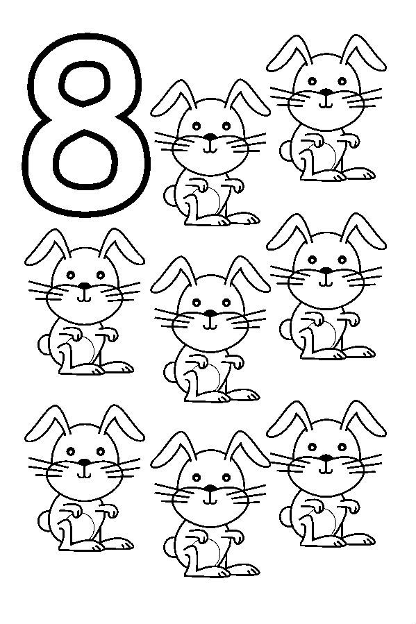 Animal Numbers Eight Rabbits