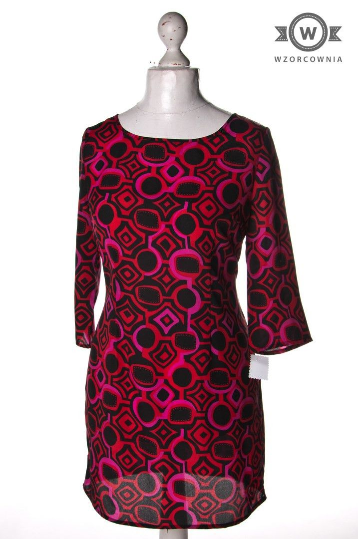 >> Wzorzysta #sukienka/tunika z rękawem 3/4 Wzorcownia online | #woman #dress #TU