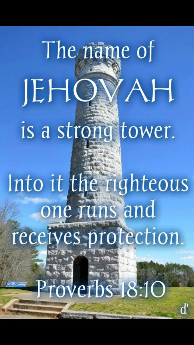 "Psalms 18:10 ""The NAME of Jehovah is a strong tower, into it the righteous one runs and receives protection. "" One of many scriptures in the bible containing God's name Jehovah. If your bible has Jehovah God's name removed, you are using an inaccurate translation. The original Hebrew and Greek scrolls contains God's name more than 7000 times. Surely then he wants us to know and use his name, especially when praying to him!"