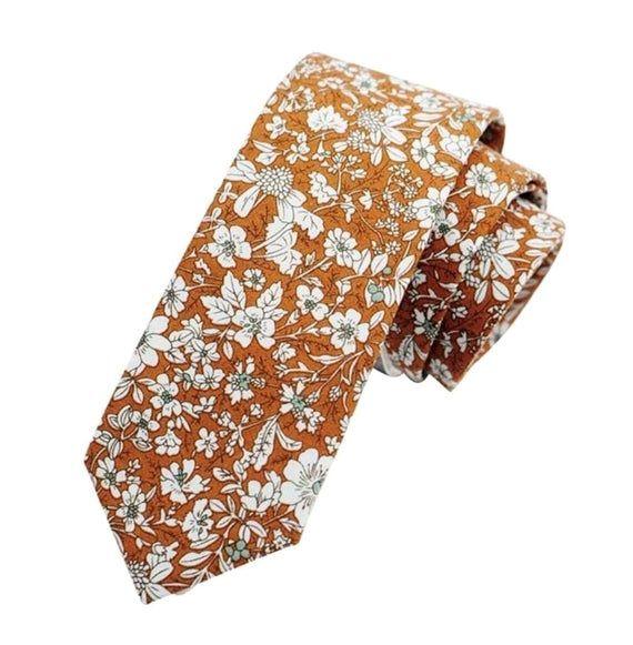 Orange Floral Necktie and Floral Pocket Square Set Orange Tie Set //Wedding //UK