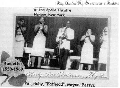 Ray Charles concert at the Apollo in NYC, with Pat Lyles, Ruby Rae Roberson, David Fathead Newman, Gwen Berry, and Bettye Smith, possibly during their October 1959 stint (2nd - 8th) there.