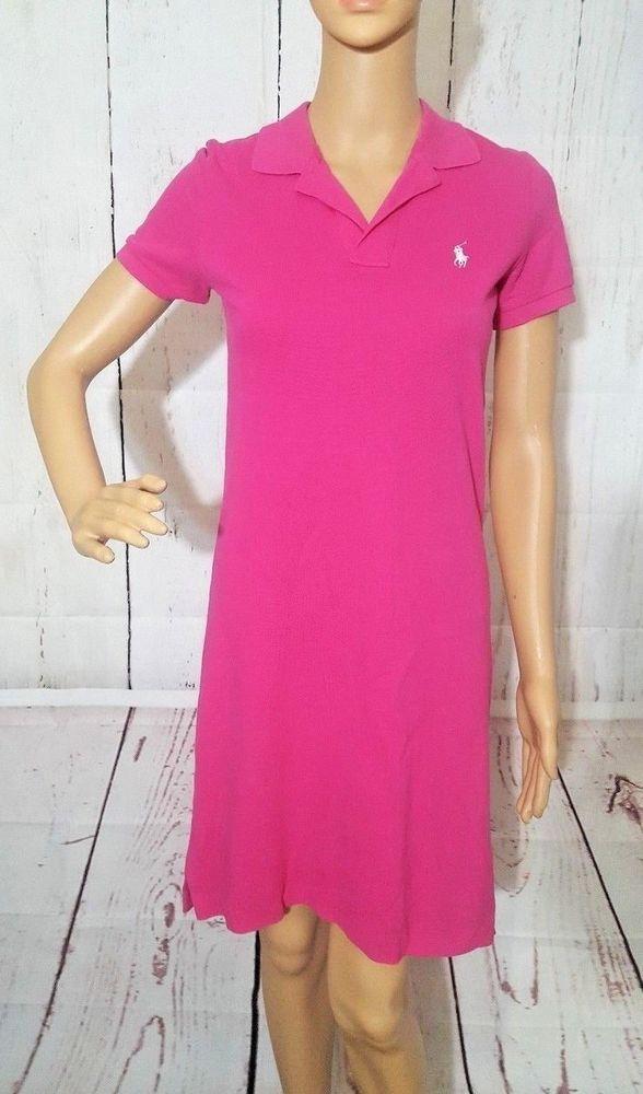 Ralph Lauren Sport Polo Shirt Dress Classic Vintage Women XS Hot PinkWhite Horse #LaurenRalphLauren #PoloDressShirtDress #AnyOccasion