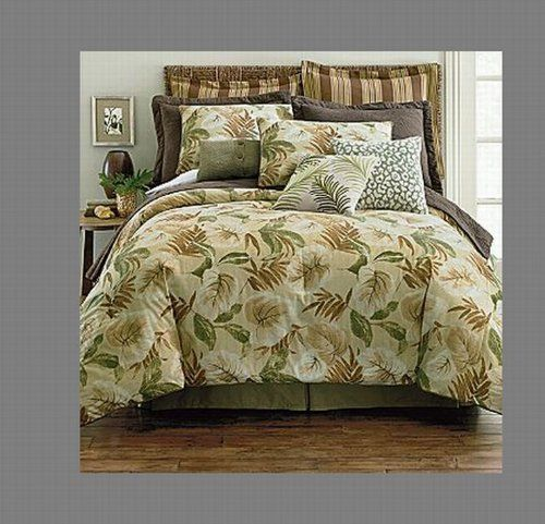 Luxury Home 4-Piece Sanibel Comforter Set, Beige, Full by Luxury Home. $88.14. Machine washable comforter measures: king-110-inch by 96-inch; queen-92-inch by 96-inch. Set includes: comforter, bedskirt, 2-shams. Features a tropical print in a vermicelli stitch detail. Floral accents in green, beige, brown, gold, and hint of rust. The tropical print of this Sanibel comforter ensemble sets the mood for relaxing and fun times. With a tropical print in a vermicelli stitch...