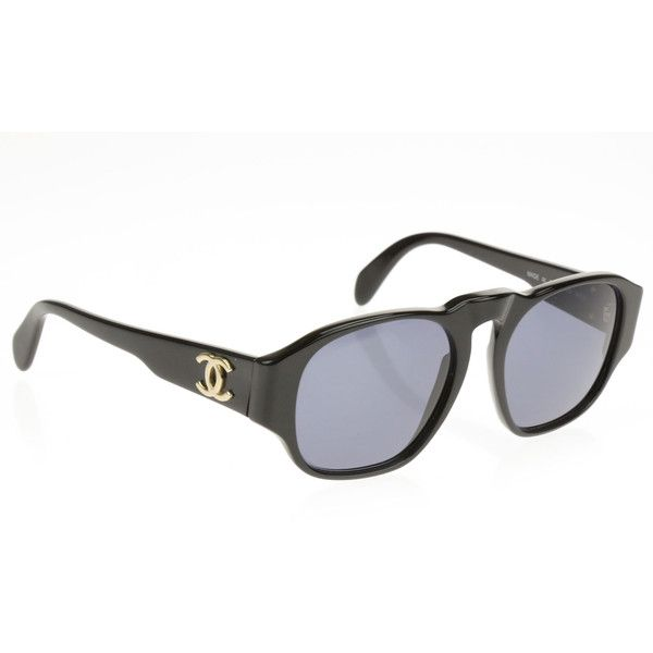 Pre-owned Chanel Vintage Black 01452 Sunglasses ($250) ❤ liked on Polyvore featuring accessories, eyewear, sunglasses, chanel, chanel glasses, lens glasses, uv protection glasses and uv protection sunglasses