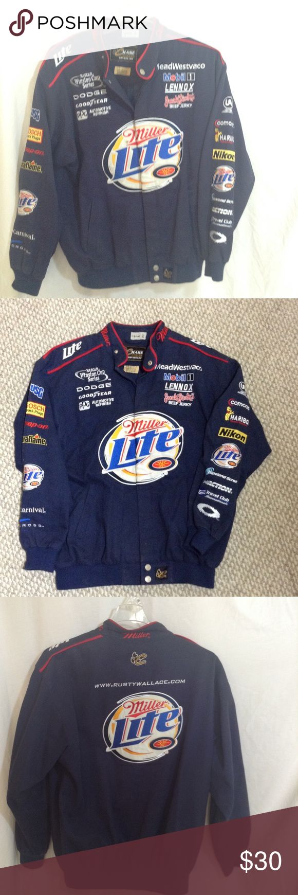 Miller light NASCAR jacket This is a all embroidered racing jacket from rusty Wallace racing team great shape Jackets & Coats Performance Jackets